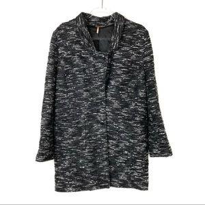 Free People   Boyfriend Tweed Coat Marled Black